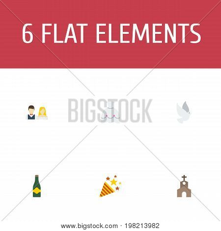 Flat Icons Sparkler, Fizz, Building And Other Vector Elements