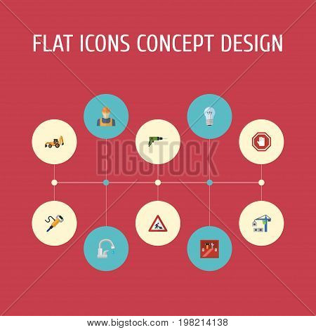 Flat Icons Electric Screwdriver, Pneumatic, Hoisting Machine And Other Vector Elements