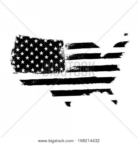 America map flag shaped. Territory of United States of America with flag. Shape of american map. Monochrome image, isolated on white.  Raster illustration