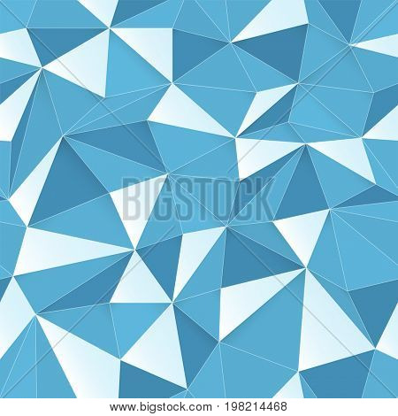 Blue 3D triangle pattern, seamless raster design texture. White Low Poly Pattern Background