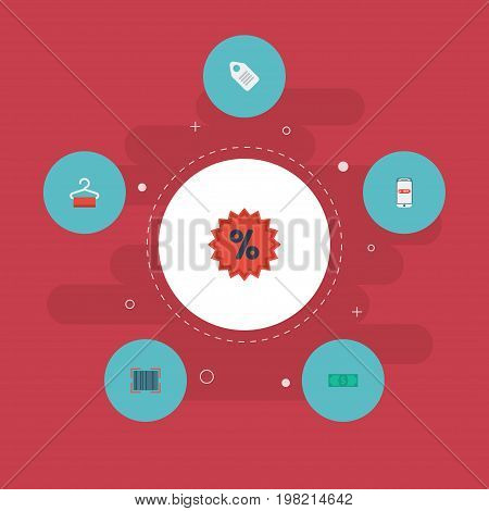 Flat Icons Purchase, Qr, Label And Other Vector Elements