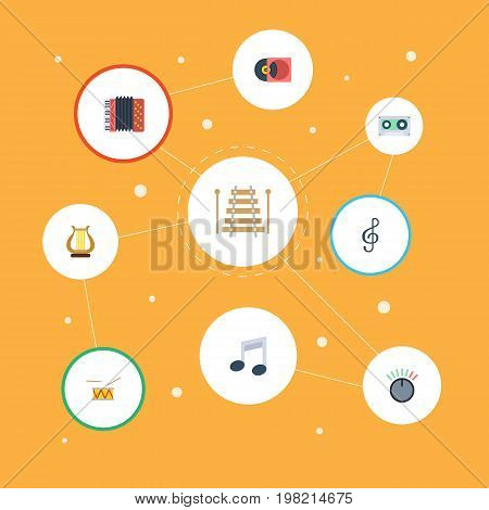 Flat Icons Quaver, Harmonica, Tone Symbol And Other Vector Elements