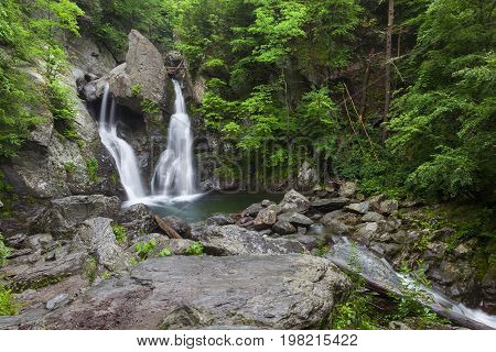 Wide view of Bash Bish Falls in Mass