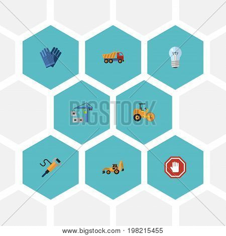 Flat Icons Stop Sign, Hoisting Machine, Bulb And Other Vector Elements