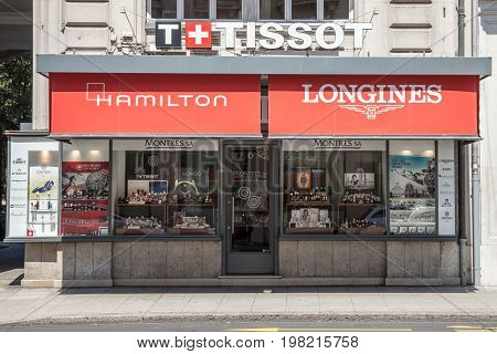 GENEVA SWITZERLAND - JUNE 19 2017: Typical luxury watch and jewelry boutique in the center of Geneva. Swiss watches are a symbol of the swiss know how and of its economy