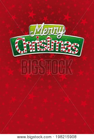Merry Christmas lettering. Red cover of greeting card with stars texture in background. Layout size: 21 cm x 29.7 cm. A4 size. Lettering design. Vector image