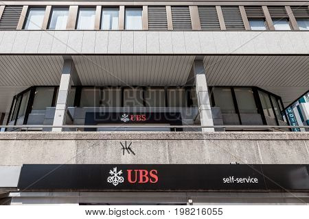 GENEVA SWITZERLAND - JUNE 19 2017: Local branch of UBS (Union Bank Switerland) in Geneva. UBS is one of the main banks of the country famous for its bank secrecy