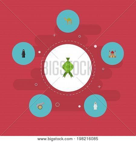 Flat Icons Artillery, Minaret, Muslim Woman And Other Vector Elements