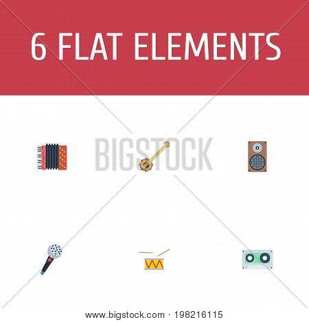 Flat Icons Audio Box, Banjo, Karaoke And Other Vector Elements