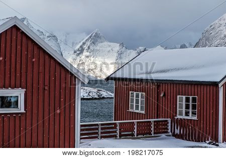 Block of Traditional Red Norwegian Houses of Hamnoy Village at Lofoten Islands.Horizontal Image Composition