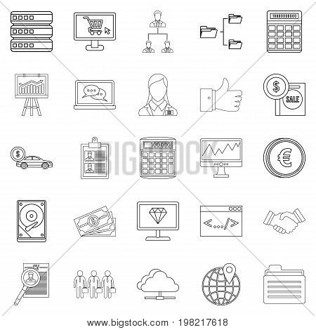 Financier icons set. Outline set of 25 financier vector icons for web isolated on white background