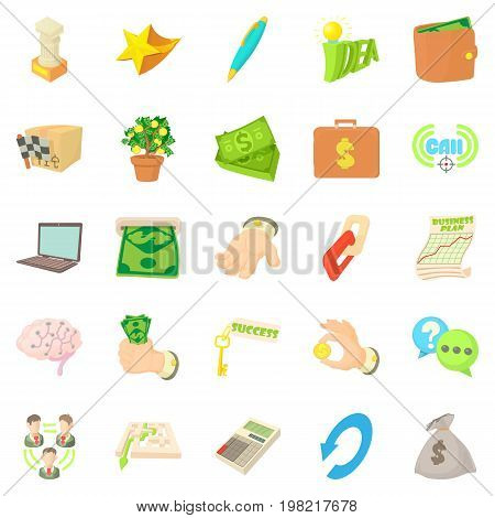 Payment by cash icons set. Cartoon set of 25 payment by cash vector icons for web isolated on white background