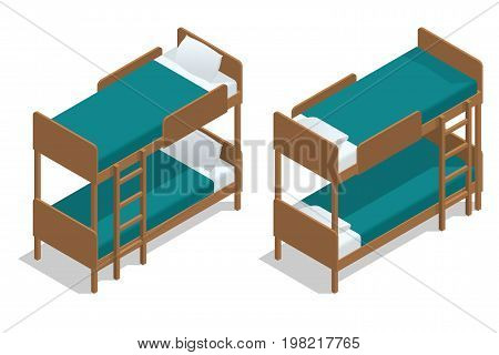 Isometric vector wooden two-storeyed bed separately on a white background. Living-room in a hostel with two bunk beds. Camp Cabin