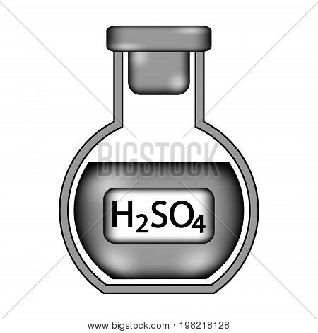 Laboratory glass with sulfuric asid sign icon on white background. Vector illustration.