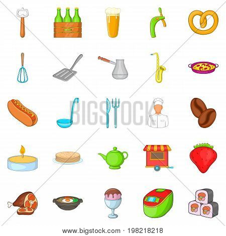 Italian food icons set. Cartoon set of 25 italian food vector icons for web isolated on white background