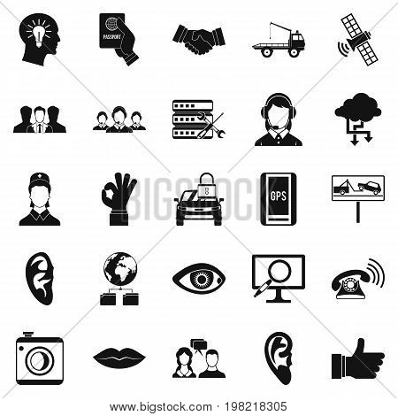 Earphones icons set. Simple set of 25 earphones vector icons for web isolated on white background