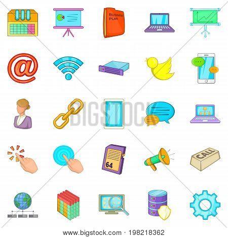 Radio operator icons set. Cartoon set of 25 radio operator vector icons for web isolated on white background