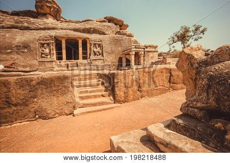 Front of the 6th century cave temple famous Hindu structure of Karnataka state, India. Historical andmark in Aihole, town.