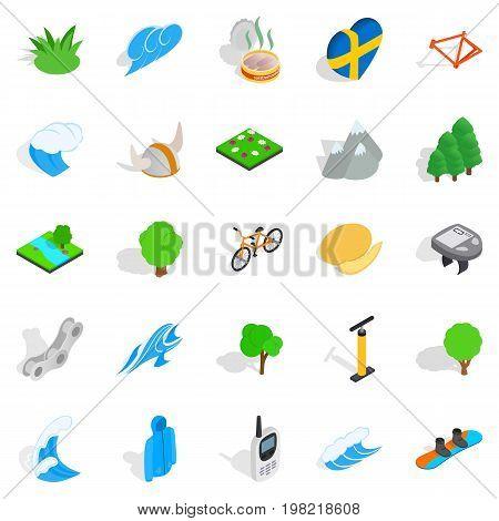 Unity with nature icons set. Isometric set of 25 unity with nature vector icons for web isolated on white background