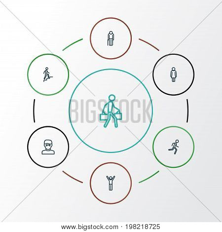 People Outline Icons Set. Collection Of Smart Man, Female, Rejoicing And Other Elements