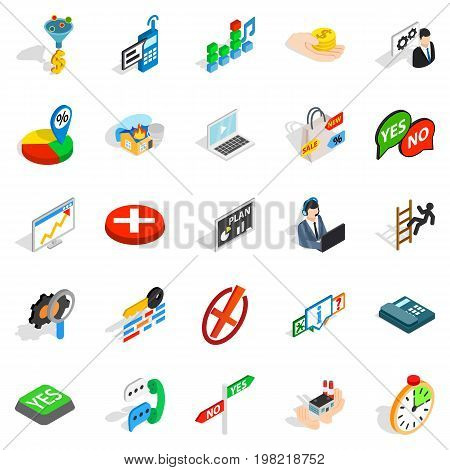 Occupation icons set. Isometric set of 25 occupation vector icons for web isolated on white background