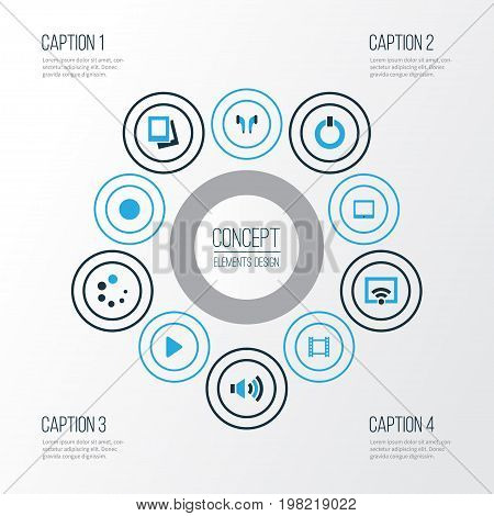 Media Colorful Icons Set. Collection Of Circle, Signal, Headphone And Other Elements