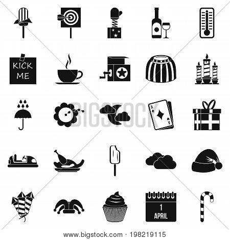 Childrens parties icons set. Simple set of 25 childrens parties vector icons for web isolated on white background