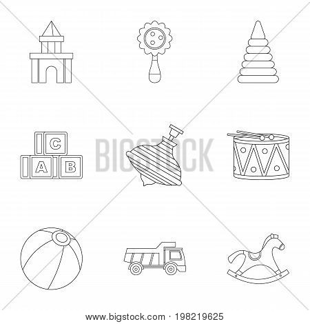 Variety of children toys icon set. Outline style set of 9 variety of children toys vector icons for web isolated on white background