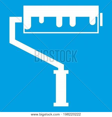 Paint roller with paint icon white isolated on blue background vector illustration