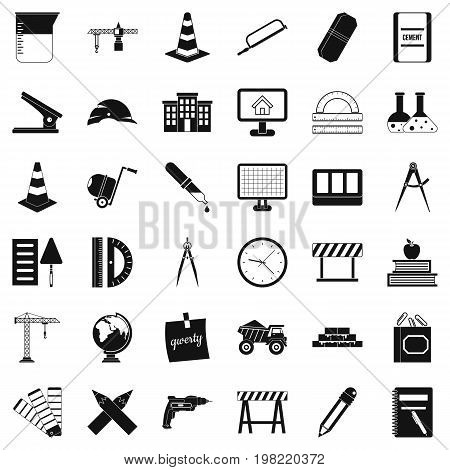 Construction icons set. Simple style of 36 construction vector icons for web isolated on white background