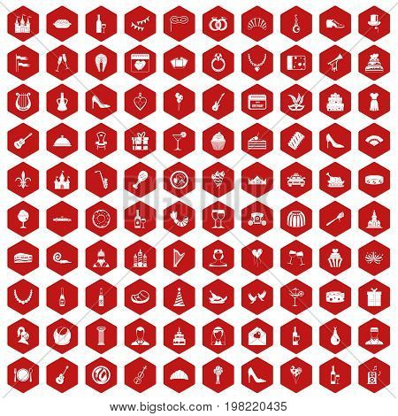 100 banquet icons set in red hexagon isolated vector illustration
