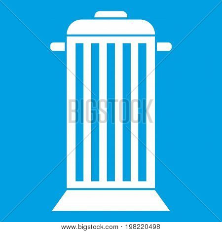 Street trash icon white isolated on blue background vector illustration