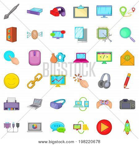 Computer emai icons set. Cartoon style of 36 computer emai vector icons for web isolated on white background