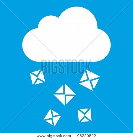 Cloud and hail icon white isolated on blue background vector illustration