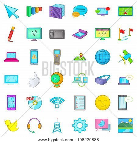 Computer information icons set. Cartoon style of 36 computer information vector icons for web isolated on white background