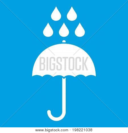 Umbrella and rain drops icon white isolated on blue background vector illustration