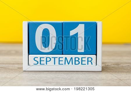 1st September. Image of september 1, calendar on yellow background. Back to school concept.
