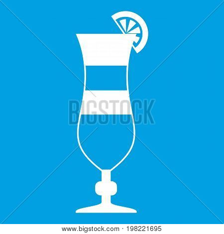 Cocktail icon white isolated on blue background vector illustration