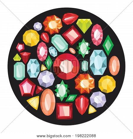 Jewels cartoon icons set vector illustration for design and web isolated on black circle background. Jewels vector object for labels  and advertising