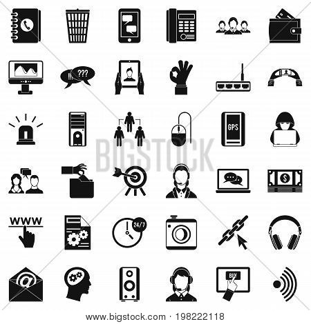 Contact email icons set. Simple style of 36 contact email vector icons for web isolated on white background