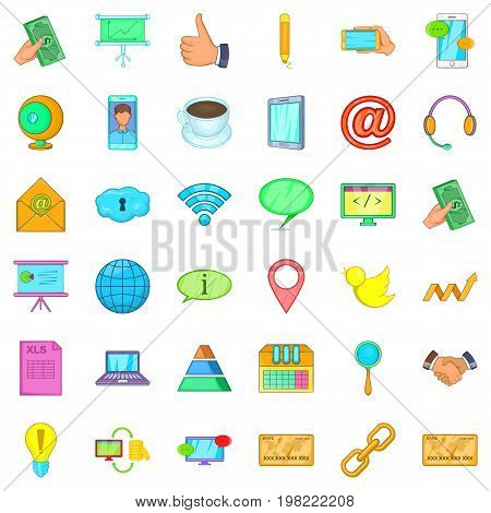 Contact info icons set. Cartoon style of 36 contact info vector icons for web isolated on white background