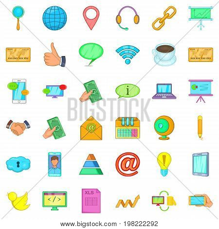 Contact information icons set. Cartoon style of 36 contact information vector icons for web isolated on white background