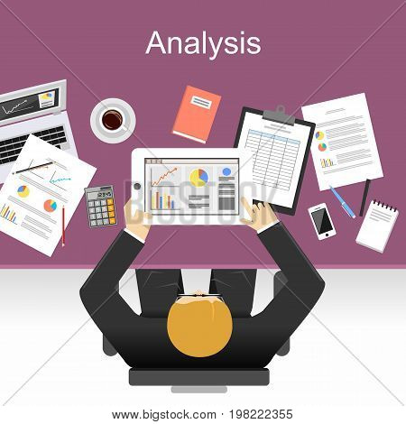 Business statistics concept. Illustration concepts for analysis working management career. Business analyst.