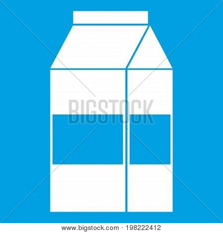 Box of milk icon white isolated on blue background vector illustration
