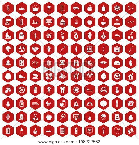 100 child health icons set in red hexagon isolated vector illustration