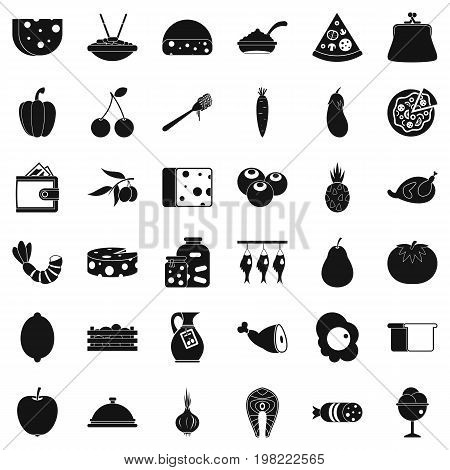 Gastronomy icons set. Simple style of 36 gastronomy vector icons for web isolated on white background
