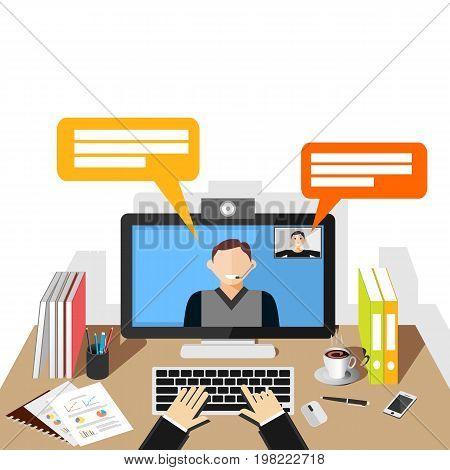 Video conference illustration. flat design. Video call. Telecommunication