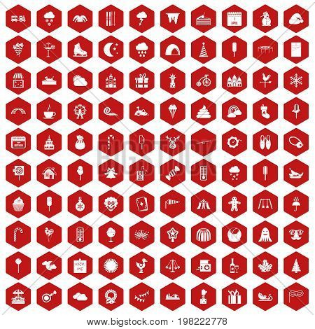 100 childrens parties icons set in red hexagon isolated vector illustration