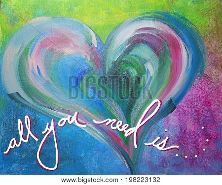 Acrylic Painting on Canvas of Multi-Colored Heart