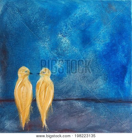 Acrylic Painting on Canvas of Two Birds on a Wire using Blues, Yellows, Violet